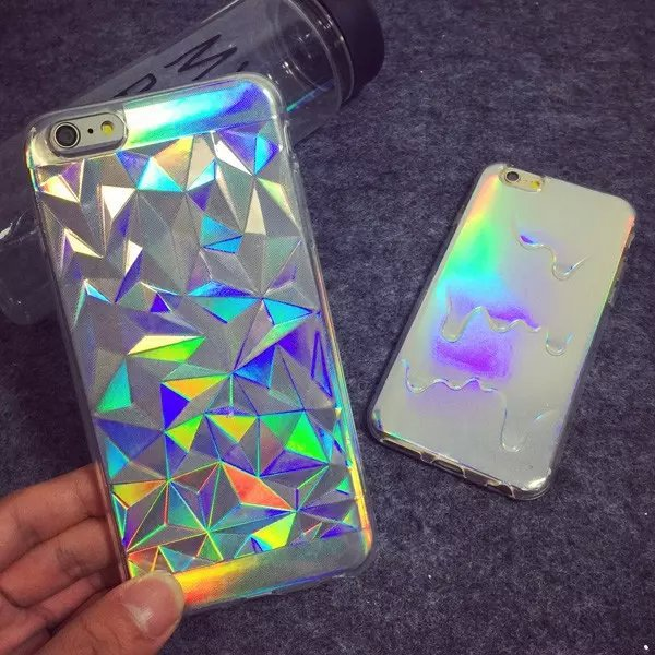 Newest Hologram Iridescent 3D Diamond Rainbow Opalescent Triangle Pastel Metallic Oil Print TPU Shell Case For iPhone 5S 6 6plus(China (Mainland))