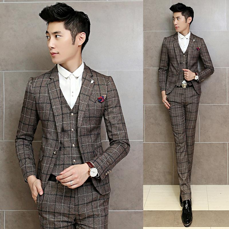 costume homme mariage 2016 vintage suits jackets mens grey plaid maillot homme 3 piece suits. Black Bedroom Furniture Sets. Home Design Ideas