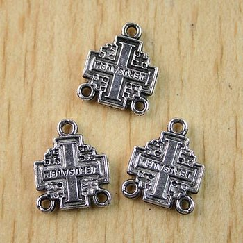 40pcs Tibetan silver crafted cross charms h1084