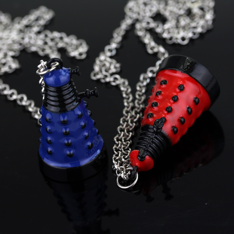 New fashion doctor who dalek necklace blue and red alien robot pendant big necklace movie jewelry for men women christmas gift(China (Mainland))