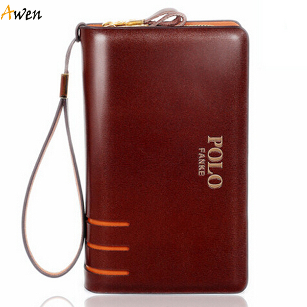 Awen new arrival large capacity hollow out double zipper leather mens clutch wallet,big genuine leather wallet for men,man purse(China (Mainland))