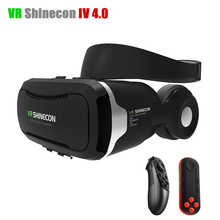 VR Shinecon 4.0 Stereo Virtual Reality Smartphone Google 3D Glasses Headset VRBOX + Headphone/Control Button for 3.5-5.5' Mobile(China (Mainland))