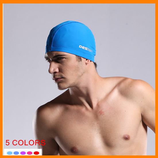 high quality men summer swimming waterproof cap man protect ears and head swim caps men's sexy hat solid elastic sportwear hats(China (Mainland))
