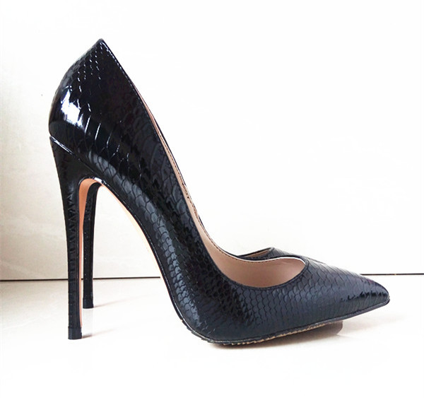 Black Snake Pattern Fashion Shoes Patent PU Leather Ladies Sexy High Heels Pointed Toe Thin Heels Wedding Shoes Pumps,B-007(China (Mainland))