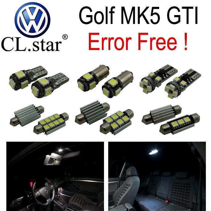 14pc X Error Free Volkswagen GTI Rabbit VW Golf 5 MK5 LED car interior light kit package(2006-2009)(China (Mainland))
