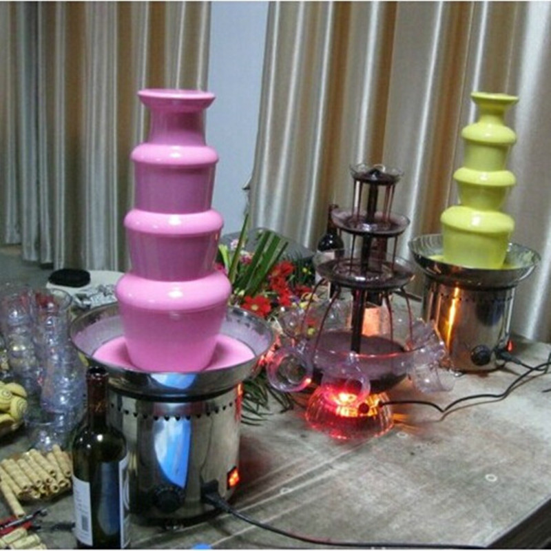 FREE SHIPPING! 4 tier commercial chocolate fountain fondue, wedding waterfall. kitchen equipment,stailess steal auger(China (Mainland))