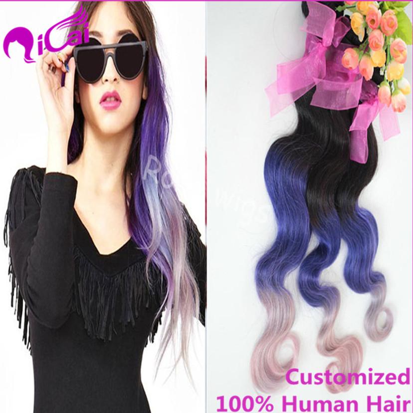 Ombre Purple Hair Weave Brazilian Virgin Remy Human Hair Extension Body Wave 4 Bundles Ombre 3 Tone 1B/Purple/pink Hair Weaving(China (Mainland))