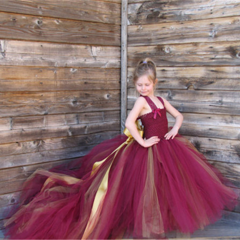 Handmade Removable Long Train Tail Girls Tulle Tutu Dress Baby Party <font><b>Frocks</b></font> Elegant Wine Birthday Dancing Festival Party Dresses