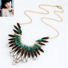 2015 Fashion Rhinestone Necklace Metal Feather Necklace For Women  fashion jewelry wholesale(China (Mainland))