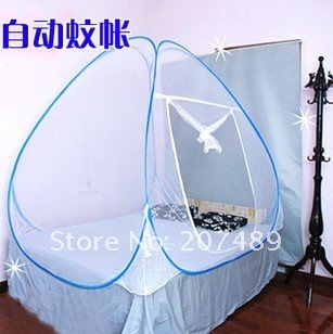 1.5*2m NEW Portable foldable magic mosquito net white encrypted stainless steel automatic mosquito nets wholesale(China (Mainland))