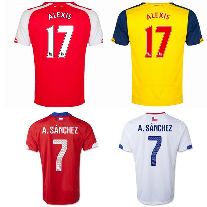 Free Shipping Camiseta Alexis Alejandro Sanchez Jersey #17 14 15 Home Away Football Club and Chile National Jersey Train Shirt(China (Mainland))