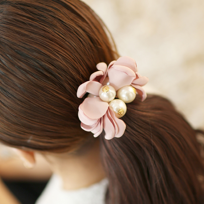 T024 summer style handmade fabric flower Pearl hair ties women girl hair string rope tie hairband elastic bands accessories(China (Mainland))