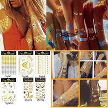 1 sheet   Body Art Metallic Temporary Tattoo Gold Silver Black Flash Tattoos Inspired(China (Mainland))