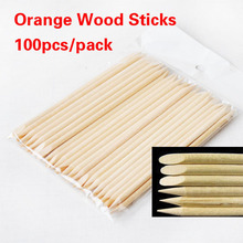Free Shipping 100Pcs Nail Art Design Orange Wood Stick Cuticle Pusher Remover Manicure Care nail tools YY438