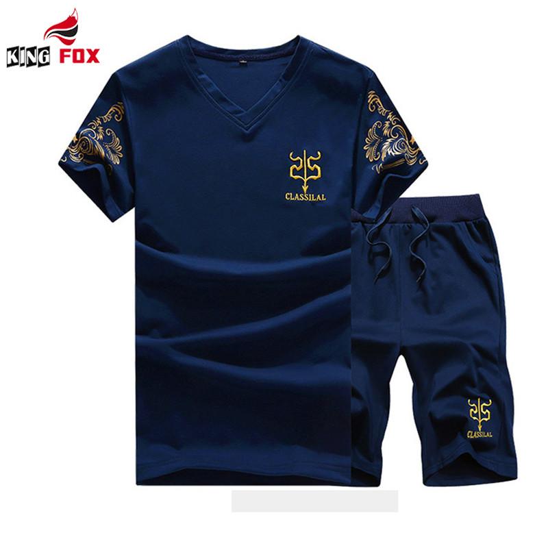 KING FOX Men's brand clothing sports suit male v-neck t-shirts+shorts sport suit outwear plus size M~5XL Tracksuit Man t Shirt(China (Mainland))