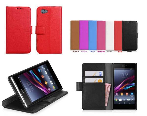 Z1 mini Luxury Wallet Stand Design PU Leather Case for Sony Xperia Z1 Compact M51W D5503 , Card Holder +10pcs/lot ,Free Shipping