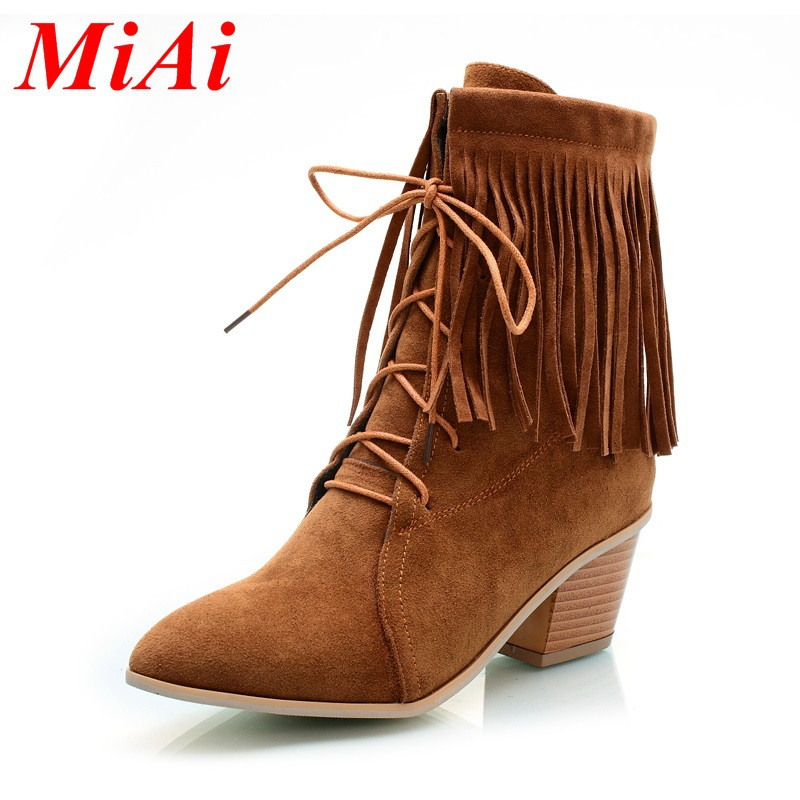 leather shoes fringed female pumps women ankle boots size 34-40 zipper pointed toe wnter boots black brown with shoes women 2015<br><br>Aliexpress
