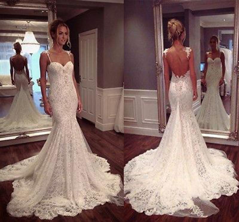Mermaid Wedding Dress With Lace Straps : Elegant backless sleeveless lace wedding dress sweetheart