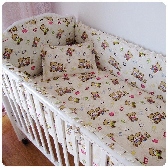 Promotion! 6PCS Baby Bedding Set For Cot and Crib Waterproof Cradle Kit (bumper+sheet+pillow cover)<br><br>Aliexpress