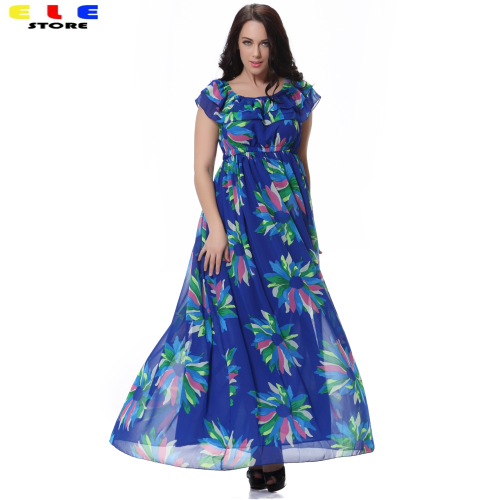 5xl 6xl plus size women elegant casual blue print boho long maxi beach summer dress 2016 woman. Black Bedroom Furniture Sets. Home Design Ideas