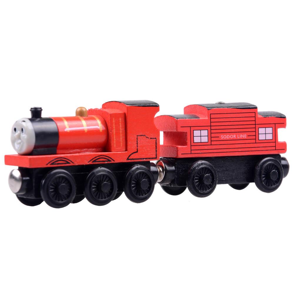 2pcs/lot Baby educational vehicle toys Wooden Magnetic Tomas Railway Train head James and Passenger car(China (Mainland))
