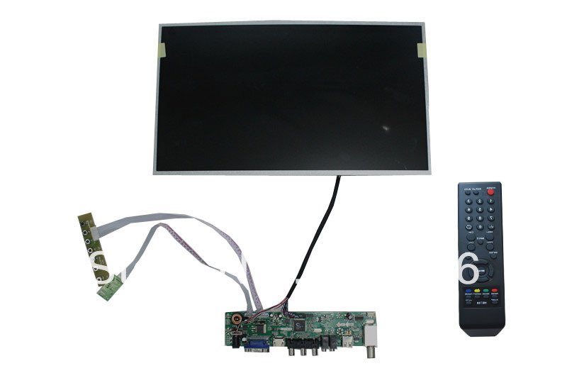 VGA+HDMI+AV+Audio LCD TV board driver 15.6 inch LCD panel+LVDS cable +Remote control and receiver +OSD keypad with cable(China (Mainland))