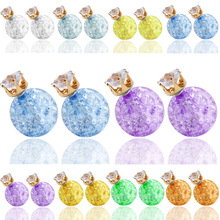Double Side Earrings Crystal Pearl Balls Fashion Transparent Candy Stud Earring For Women Gold Two faced Rhinestone Jewelry(China (Mainland))