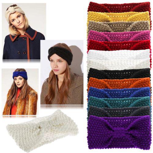 Hot Selling Cute Fashion Ladies Women Girls Crochet Knitted Bow Turban Headwrap Hair Band Winter Ear Warmer Headband Accessories(China (Mainland))