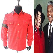 Rare MJ Michael Jackson RED CTE Corduroy Outwear Shirt Jacket arm-bands - Costume Co..Ltd store