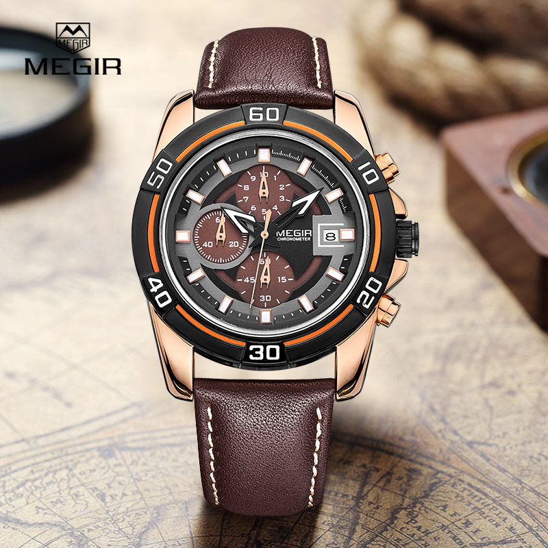 MEGIR relogio hot sport running quartz watch 2015 man luxury masculino leather wristwatch Men Watches Chronograph 6 Hands 2023<br><br>Aliexpress