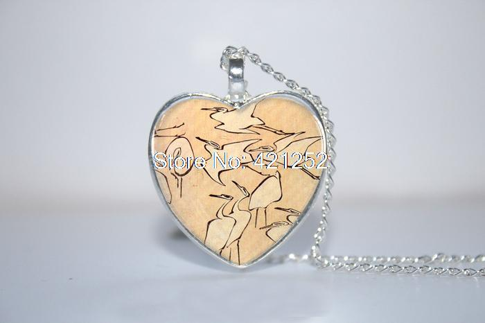10pcs/lot Flying Cranes Pendant, Crane Necklace, Crane Jewelry, Crane Heart Necklace Glass Photo Cabochon Necklace(China (Mainland))
