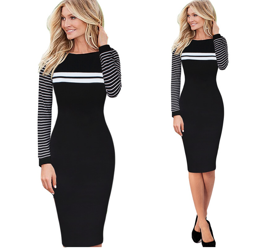 Europe new career working women simple stripes hit color package hip Slim round neck long-sleeved dress S-4XL - Loving You Fashion Factory Limited store