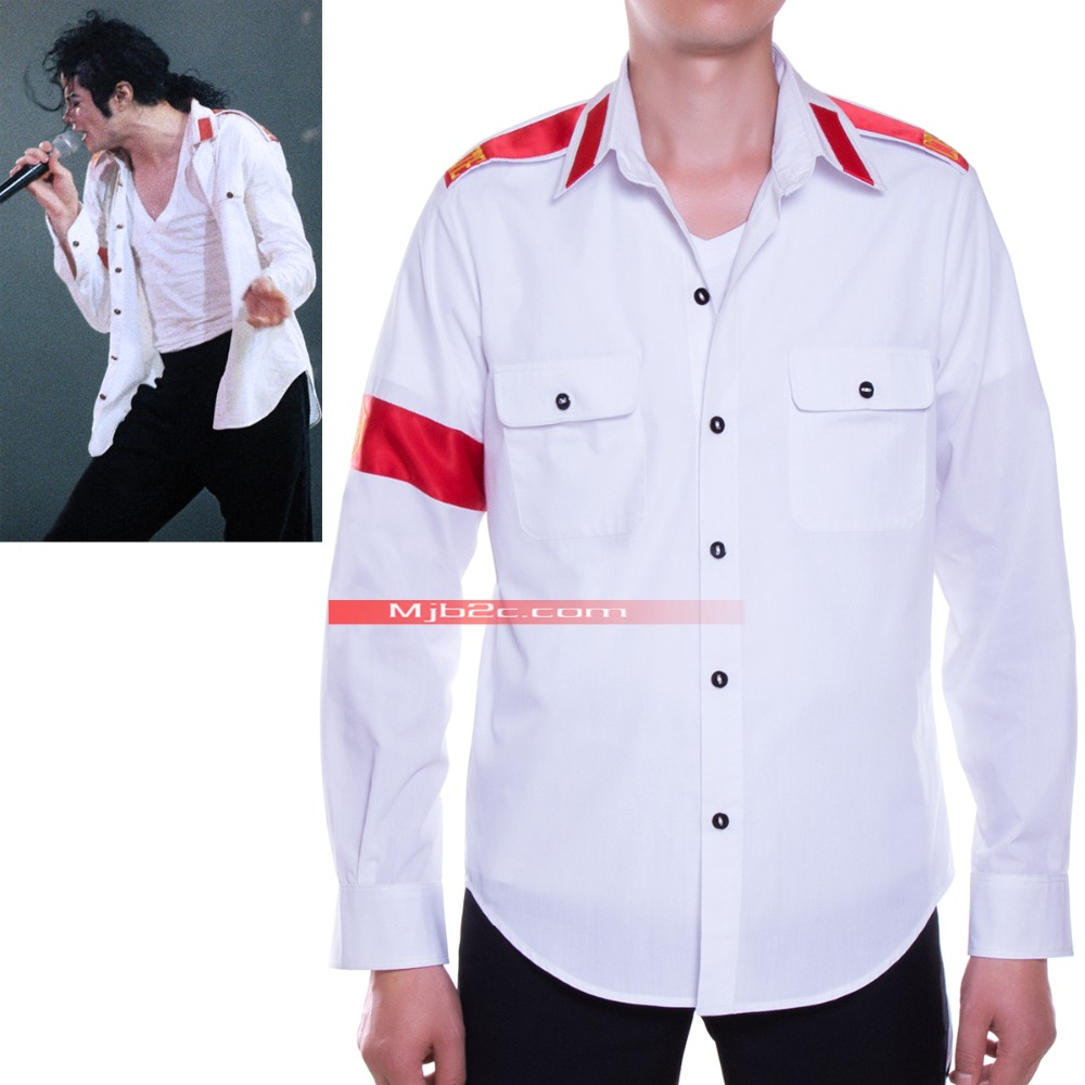 Michael Jackson-CTE Shirt-white  (free shipping to worldwide)Одежда и ак�е��уары<br><br><br>Aliexpress