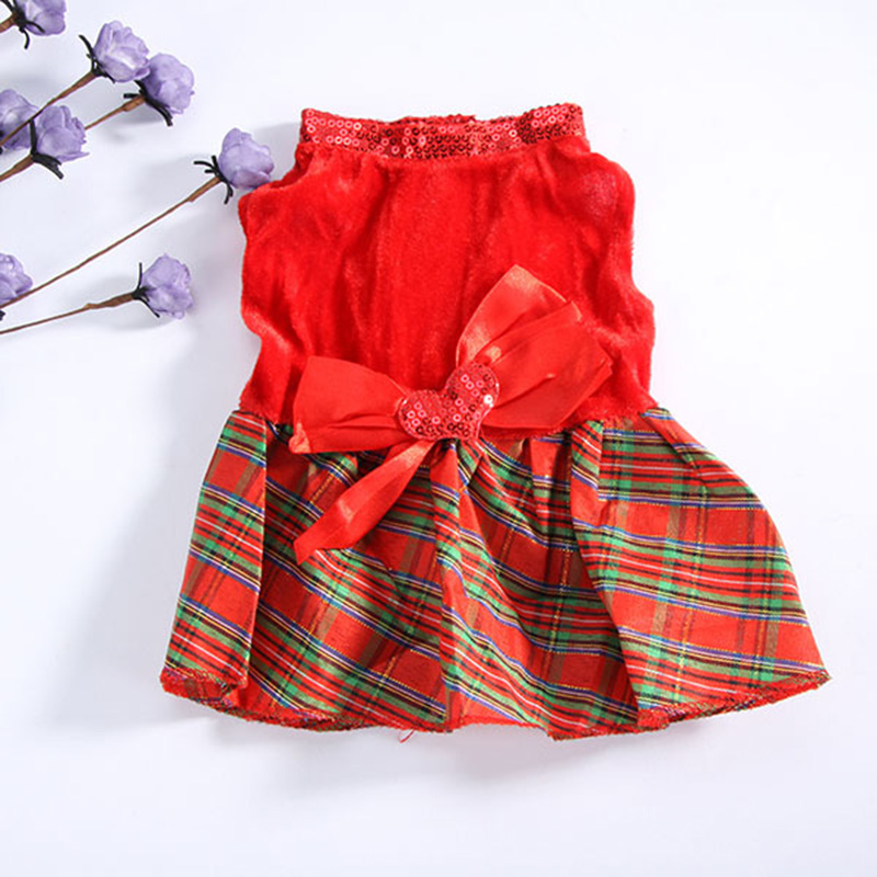 Гаджет  Newest Lovely Pet Dog Red Plaid Christmas Dress Apparel Puppy Cat Outerwear Clothes None Дом и Сад