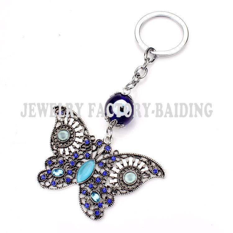 015 Brand New Trendy  Evil Eye Keychains Cute Animal Crystal Butterfly Keychain Keyring Car Accessoires<br><br>Aliexpress