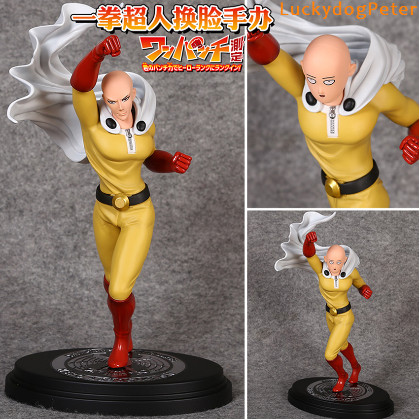 One Punch Man Saitama Action Figure 1/7 scale painted figure Exchanged Head Ver. Saitama Doll PVC ACGN figure Brinquedos 23CM(China (Mainland))