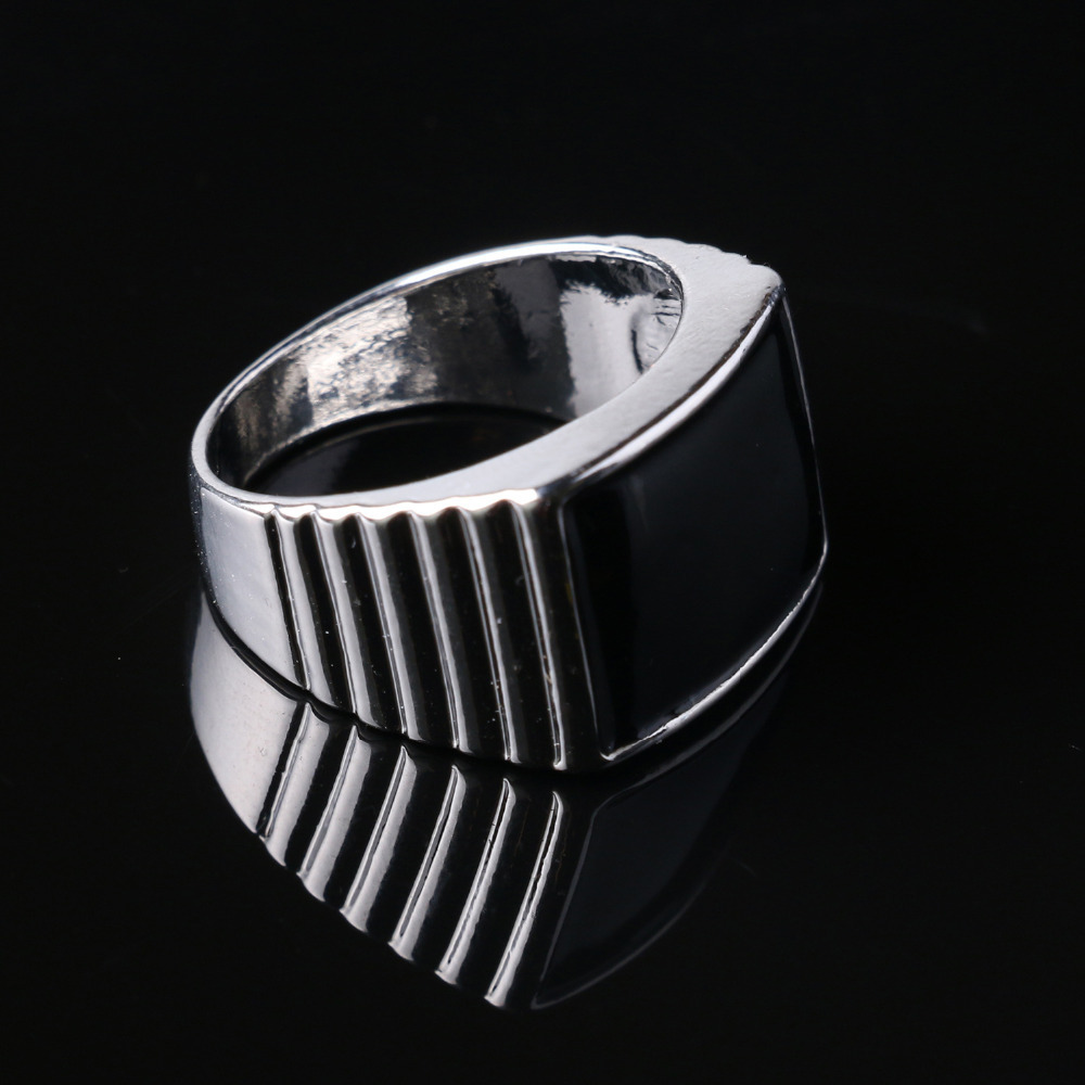 Bague Homme Black Men's Enamel Rings Jewelry Vintage Silver Plated Antique Enamel Rings Size 7-10 Anel Masculino(China (Mainland))