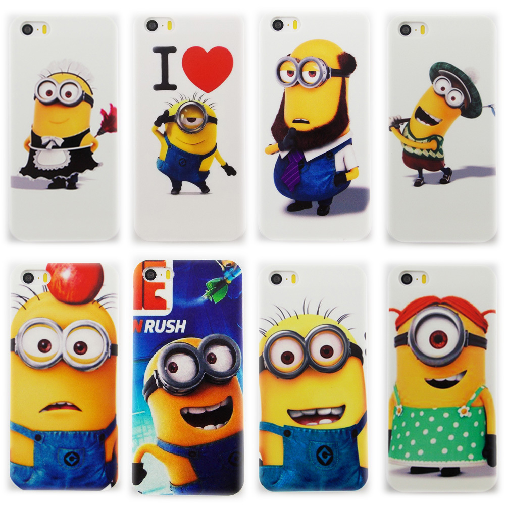 2015 Luxury 0.8mm 15 Style Cute pattern case Despicable Me Yellow Minion Logo Plastic Material hard Cover case for iphone 5c(China (Mainland))