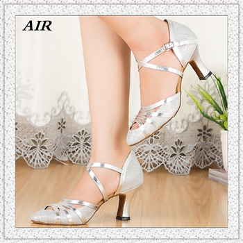 2015 New Arrived Pointed Toe Salsa Dance Shoes Ladies Ballroom Dance Shoes Latin Shoes Silver Black Brown Customized Heels