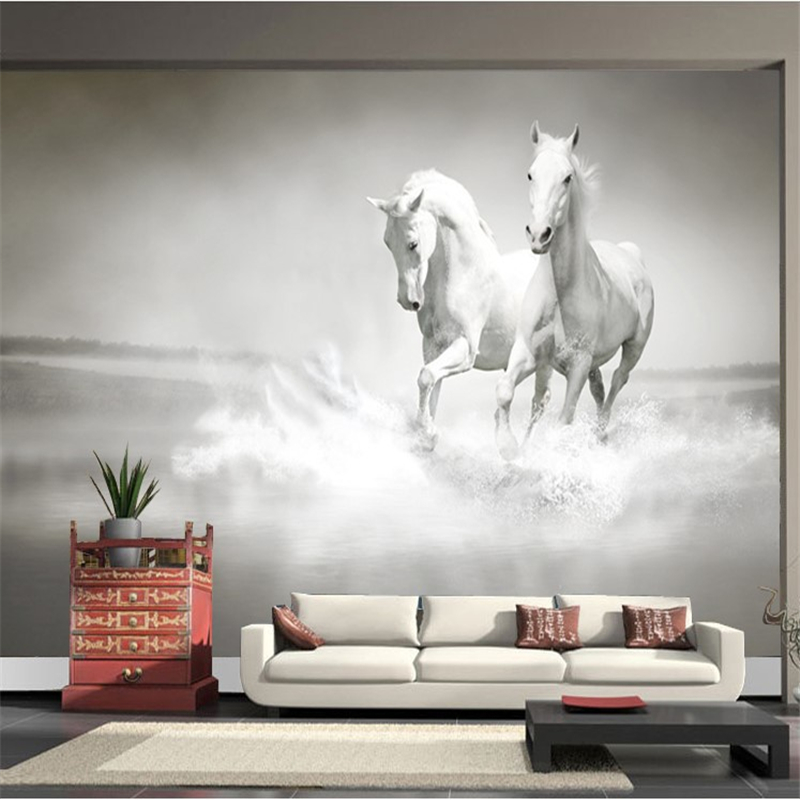 Horses custom mural wallpaper free shipping worldwide for Custom mural wallpaper
