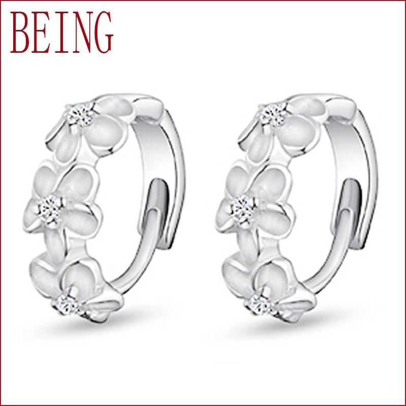 2016 New Fashion Jewelry Women Stud Earring Camellia Flower Design Sparkling Crystal Inlay Silver Plated Ear Jewelry Wholesale(China (Mainland))