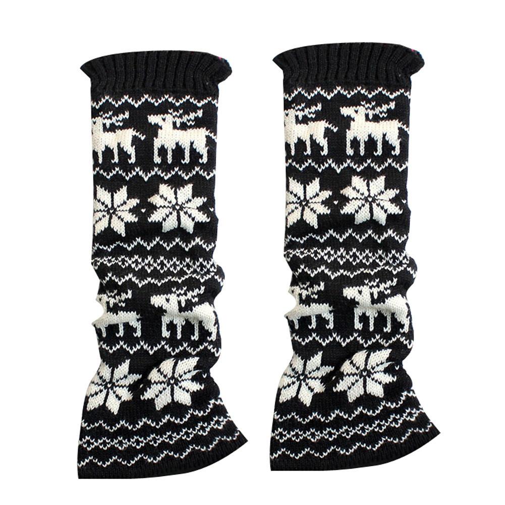 Fashion Korea Style Women Winter Snowflake Deer Knit Leg Warmers Footless Boot Socks New(China (Mainland))