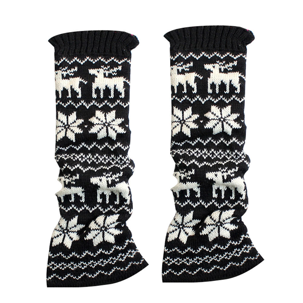 Fashion Korea Style Women Winter Snowflake Deer Knit Leg Warmers Footless Boot Socks New(China (Mainland))