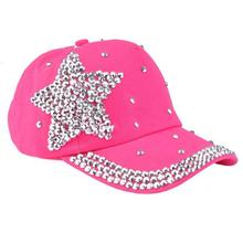 Baseball Cap Children Cotton Five-pointed star diamond Rhinestone Star Cap Shaped kids Snapback leisure Hat outdoors adjustable(China (Mainland))