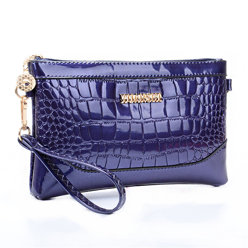 Day Clutch Female Crocodile Womens Handbag Wristlet Bag Patent Leather Messenger Evening Clutches Small Bags Wallet Phone Pouch(China (Mainland))