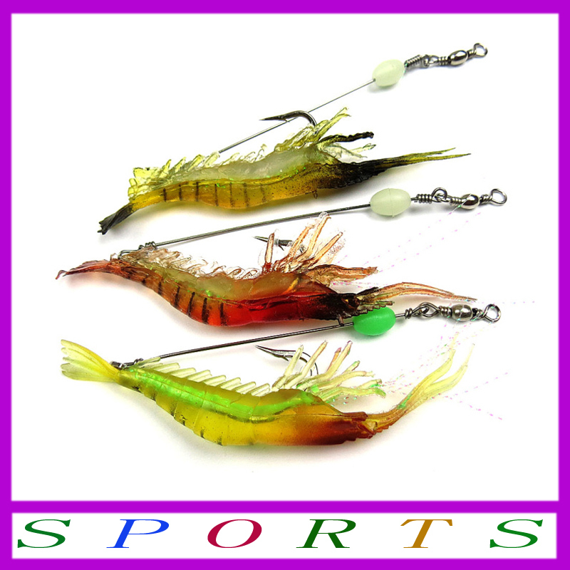 2014 Fishing Soft Plastic Fishing Lures Noctilucent Soft Silicone Artificial Bait Shrimp Lure Soft Bait Troll Bass Lures 9.5cm6g(China (Mainland))