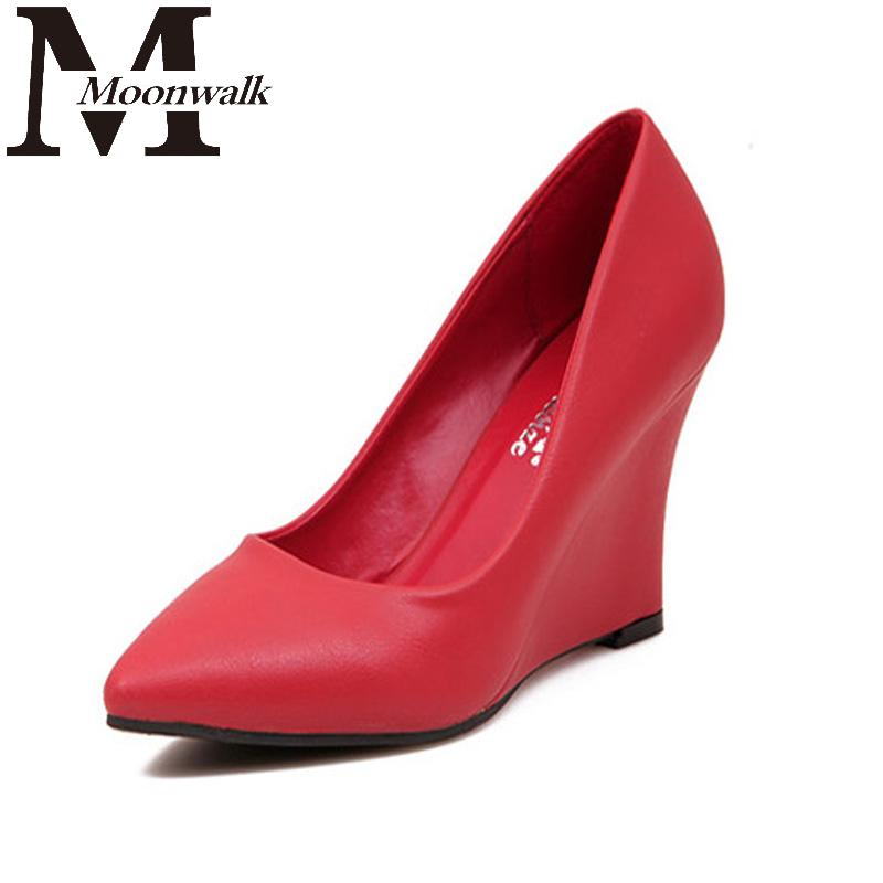 Wedge Shoes For Women 2015 Autumn Spring Women's Pumps Pointed Toe Wedges High Heel Red Black Blue White Ladies Heels S653(China (Mainland))