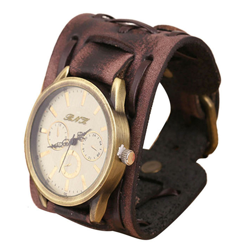 Best seller free shipping Mens New Style Retro Punk Rock Brown Big Wide Leather Bracelet Cuff Cool Watch relogio feminino May27(China (Mainland))