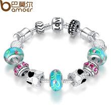 Aliexpress 925 Silver Charm Bracelet Bangle for Women with Murano Beads fit Original Pandora Bracelet Love DIY Jewelry P1019(China (Mainland))