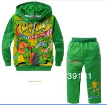 Children's wear suit kids cartoon clothing suit FZ201308. Green cotton Teenage mutant ninja turtles children two-piece(China (Mainland))